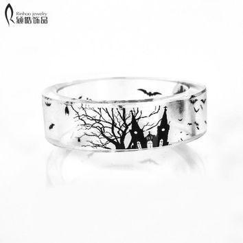 Fashion Ring Wedding rings engagement Jewelry Crystal Engagement Wedding ring for women Gift Handmade Resin Epoxy Ring Inside