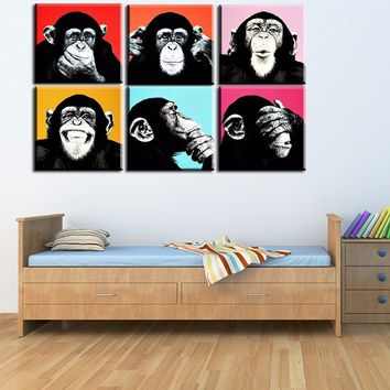 6PCS Monkey Wall Painting Print on Canvas for Home Decor Ideas Paints on Wall Pictures Art?No framed