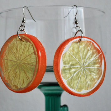 Orange Slice Earrings plastic fruit