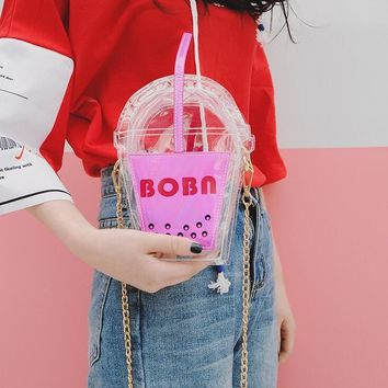 Personality Funny Creative Coke bottle 2017 PU leather Women bag Laser Hit color Transparent Jelly Chain Shoulder Messenger bag