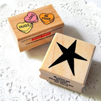 Vintage Wood Mounted Rubber Stamp. Hero Arts Stamp. Craft Supply. Wood Block Stamp. Rubber Stamp. Scrapbook Supply. Heart Stamp. Star Stamp.