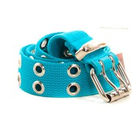 Vintage Y2K Turquoise Vegan Grommet Belt - One Size Fits Many
