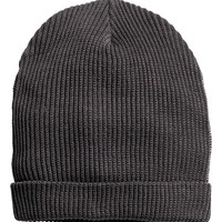 H&M - Rib-knit Hat - Dark gray - Men