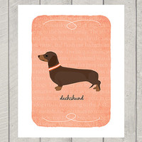 Chocolate Tan Dachshund Breed Custom Dog Art Print