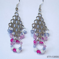 Filigree earrings -Antique earrings with silver finish with pink,purple and white glass beads- Lightweight earrings-Handmade earrings