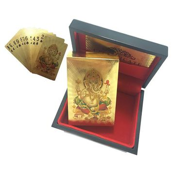 24K Gold Plated Ganpati Good Luck Playing Cards