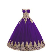LMBRIDAL Women's Lace Appliqued Sweetheart Quinceanera Dress Ball Gowns EVD21