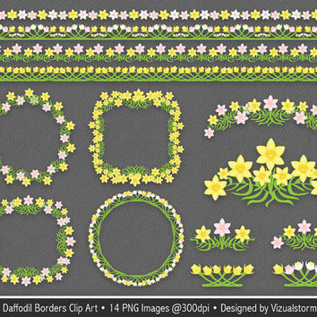 Spring Floral Borders Clip Art, Daffodil frames and accents, digital daffodils clipart, pink and yellow flower photo frames Buy 2 Get 1 Free