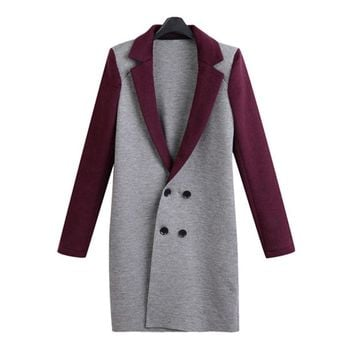 Wool Blends Double Breasted Long Coat