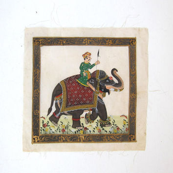 Vintage Indian miniature silk painting of royal elephant and rider