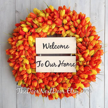 Spring Wreath - Tulip Wreath - Wreath for Spring - Year Round Wreath - Personalized Wooden Sign