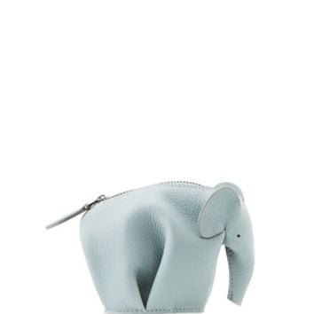 Loewe Elephant Small Zip Pouch, Light Blue