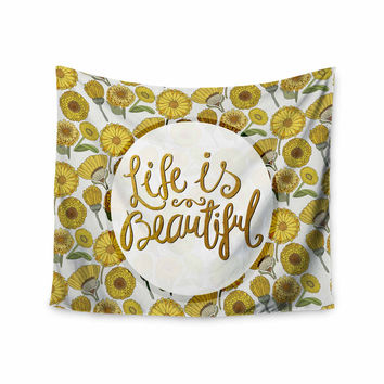 "Pom Graphic Design ""Life Is Beautiful"" Yellow Gold Typography Illustration Wall Tapestry"
