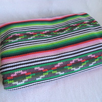 Woven fabric blanket/ vintage Mexican style thick blanket/ southwestern boho bohemian hippie blanket/ pink green red black white