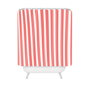 Striped Americana Shower Curtain in Red & White