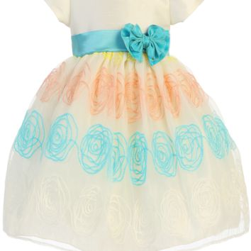 Embroidered Swirls on Ivory Organza Overlay & Shantung Spring Dress (Baby & Toddler Sizes)