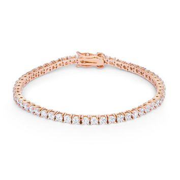 Simulated Diamond 5.75 ct Victorian 7 Inch Tennis Bracelet, 14k Rose Gold Clad