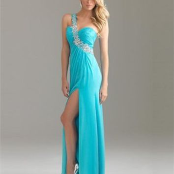 One Shoulder Sweep Train Beaded Chiffon Prom Dress PD0190