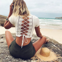 White Lace Tops Women Summer T-shirt Beach Backless T shirt Sexy Hollow Out Lace up Bandage V-neck Crop Tops Tee Shirt Femme
