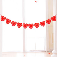 3 Meters Red Hearts Bunting Banner
