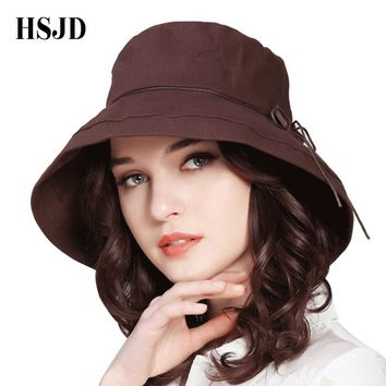 2018 New Brand Women Sun Hat Summer Bucket Hats Fashion Lady Wide Brim Fedoras Hats With Button Solid Color Adult Casual Caps