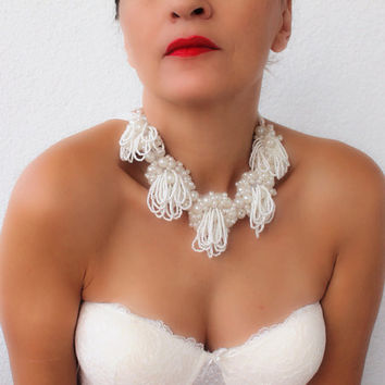Ivory Wedding Statement Necklace with Glass Pearl Beads