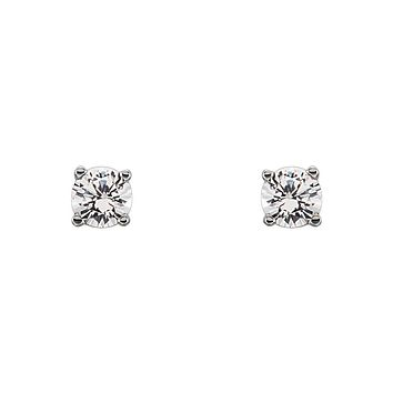 Kids 3mm White Sapphire Youth Threaded Post Earrings in 14k White Gold