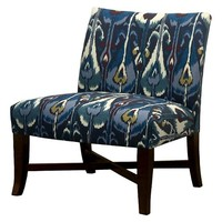 Owen X-Base Slipper Chair – Blue Ikat