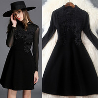 Lace embroidered gauze dress
