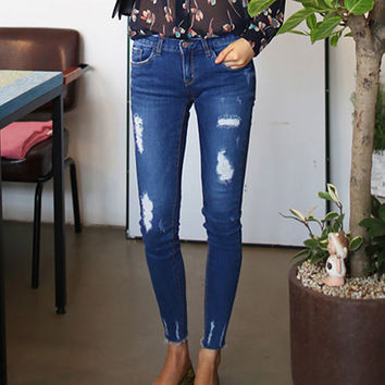 2016 spring plus size jeans for woman hole elastic skinny pants pencil pants summer ankle length trousers  woman jeans