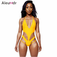 One Piece Swimsuit 2016 High Cut Swimming Suit For Women Yellow Sexy Plunge V Neck Cross Back Monokini LC41270