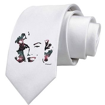 Marilyn Monroe Galaxy Design and Quote Printed White Necktie by TooLoud