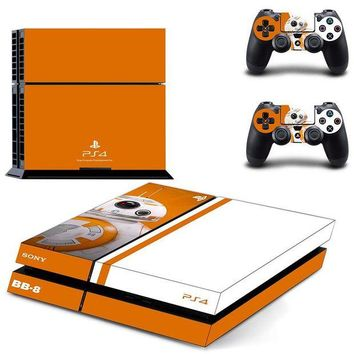 DCCKJN2 PS4 Stickers Skin Star Wars: The Force Awakens For Playstation 4 Console+2 Controllers Skin Decals BB-8