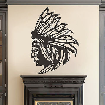 kik2855 Wall Decal Sticker Indian Chief Native American living room bedroom