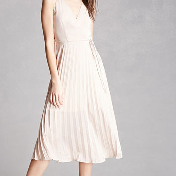 Lush Pleated Satin Midi Dress