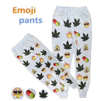 3D EMOJI Print Unisex Maple leaf Weed Pill SWEAT PANT JOGGER Sports Trousers = 5710912769