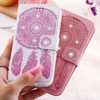 KISSCASE Flower Leather Case For iPhone 7 Plus For iPhone 6 6S Plus 5 5S SE Wallet Bag Case For iPhone 7 6 Card Slot Phone Cover