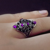 Victorian ring, engraved silver ring, purple crystal ring, gothic ring, medieval ring, gypsy ring, fine silver jewelry, OOAK