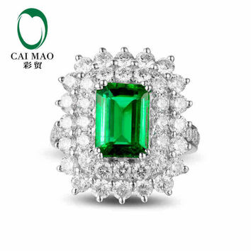 CaiMao 2.34 ct Natural Emerald 18KT/750 White Gold  2.69 ct Full Cut Diamond Engagement Ring Jewelry Gemstone colombian