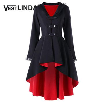 Trench Coat Back Lace Up High Low Gothic Style