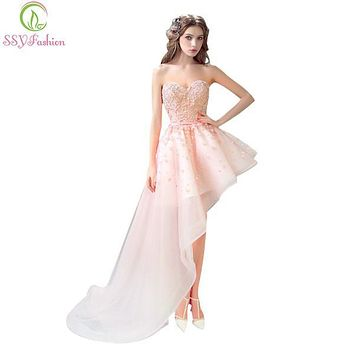 SSYFashion Evening Dresses Bride Banquet Pink Lace Sweetheart Flowers Short Front Back Long Tail Prom Dress Plus Size Party Gown