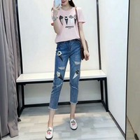 Chanel Women Casual Fashion Beaded Ice Cream Print Short Sleeve T-shirt Jeans Trousers Set Two-Piece