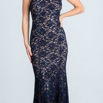 Lace Beaded Neckline Halter Long Formal Sheath Dress Navy Blue