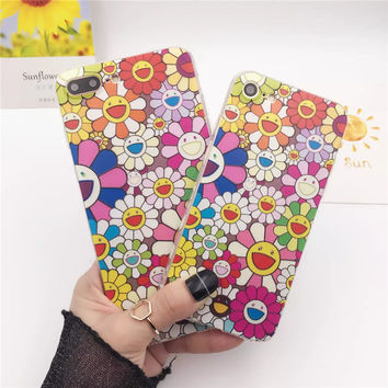 Colorful Sunflower Case Cover For iPhone 7 Case for iPhone 6 6s 7 Plus Cute Fashion 3D Emboss Flower Phone Cases For Girls  -0405