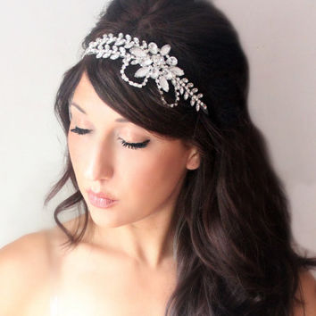 Bridal headband shimmering rhinestones wedding accessory by deLoop