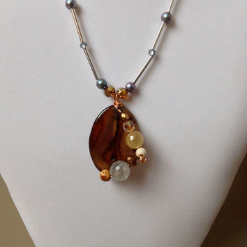 Brown Agate Necklace and Wired Wrapped Gemstones