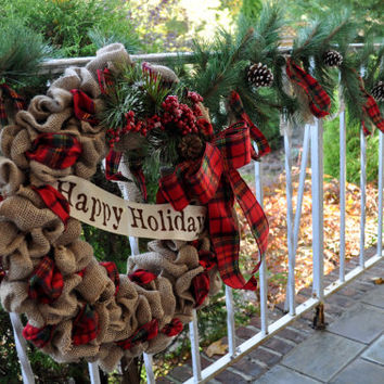 Christmas Garland, Holiday Garland, Christmas Decorations, Holiday Decorations, Plaid, Burlap, Pinecones
