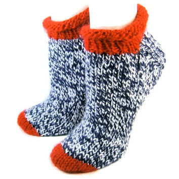 Roll Top Winter Ankle Socks Navy White Ragg Tweed with Red Cuff  and Toe Cap PATRIOT #311
