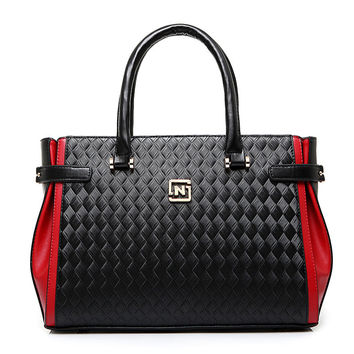 Leather Fashion patchwork knitted weave pattern Designer Hand Bag