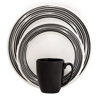 Corelle Boutique Brushed 16-Pc Dinnerware Set, Black